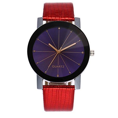 Armbanduhren OHQ Vogue Uhren Casaul Frauen Fashion Peeling PU Lederband Analog Quarz (Rot)