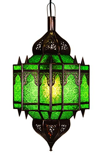 Orientalische Lampe Pendelleuchte Grün Alia 50cm E27 Lampenfassung | Marokkanische Design Hängeleuchte Leuchte aus Marokko | Orient Lampen für Wohnzimmer Küche oder Hängend über den Esstisch