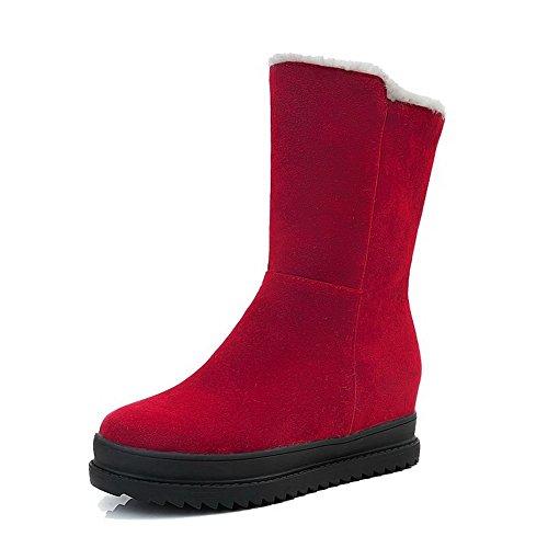 Voguezone009 donna tacco medio puro tirare nappa punta tonda stivali, rosso, 38