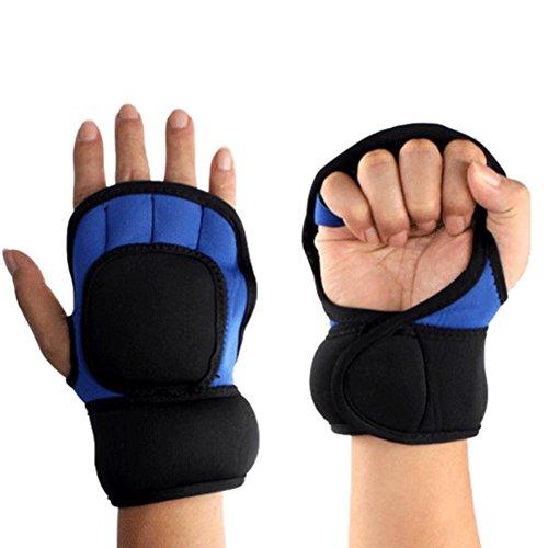 Prom-near Halbe Fingerhandschuhe Wushu HandSanda Gewicht-tragenden Halbfinger-Handschuhe Eisen Sand Palm-Praxis-Handschuhe Handschuhe für Männer Frauen Half Finger Atmungsaktive Anti-Rutsch-Handschuhe