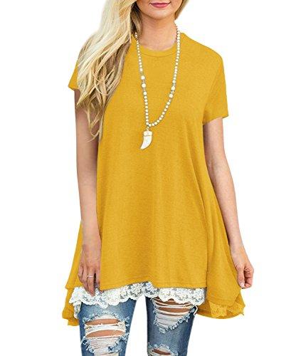 Blazar Mujer Camiseta T-Shirt Mini Vestido Verano Encaje Dobladillo Túnica Tops Estival de Manga Corta Casual Ropa Tamaño Grande con Botón Amarillo M