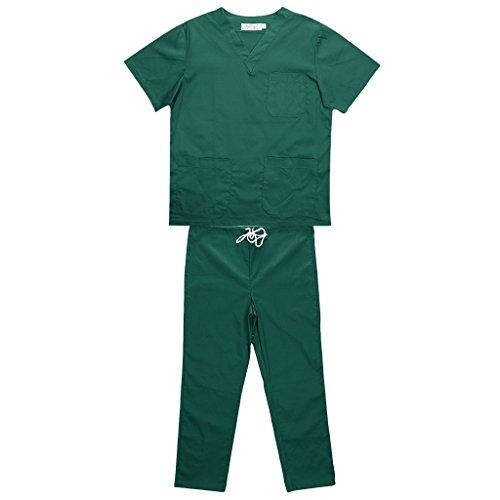 Baoblaze Herren Damen OP-Kasack Schlupfjacke Schlupfkasack Pflegerkasack Kittel Kasack Schlupfhemd für Medizin Pflege Kleidung - Grün, M (Krankenhaus-uniformen)