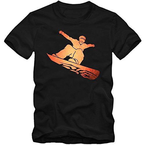 Snowboard T-Shirt | Wintersport Herrenshirt | snowboarden |Schnee | Après Ski © Shirt Happenz Schwarz (Deep Black L190)