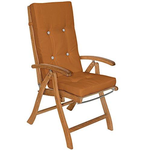 Detex® Stuhlauflagen Vanamo Befestigungsschlaufen 6er Set Auflage Hochlehner Sitzauflage Stuhlkissen Kissen Terracotta