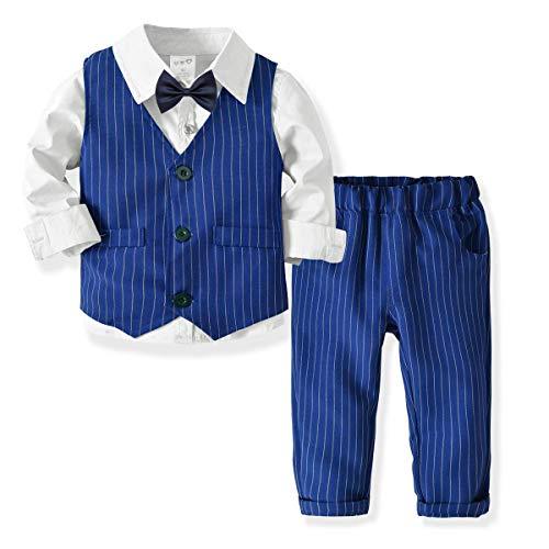 SANMIO 3tlg Baby-Jungen Bekleidungssets Strampler Taufkleidung Set Hemd + Hose + Weste + Fliege Krawatte Anzug für Baby Geburtstag (Anzüge Für Babys)