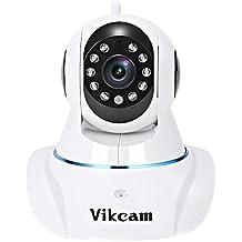 Vikcam Cámara IP de Vigilancia inalámbrica para seguridad P2P 720p HD IR LED con CMOS sensor,vision nocturna,micrófono y altavoz y detección de movimiento, soporte ONVIF,RTSP compatible con iOS,Androi