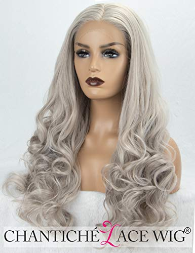 Chantiche Best Wavy Synthetic Lace Front Wigs for Girls Christmas Natural Looking Light Grey/Gray Hair Wig uk 22inches