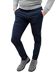 Idea Regalo - Evoga Pantaloni Casual Uomo Invernali Slim Fit (48, Blu)