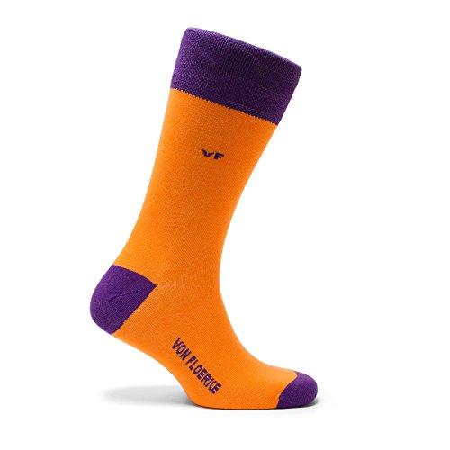 VON FLOERKE handgekettelte Business-Socken / Kontrast-Herrensocken / Smoking-Strümpfe aus ägyptischer Baumwolle / bunte Baumwollsocken ohne Naht / Orange-Violett