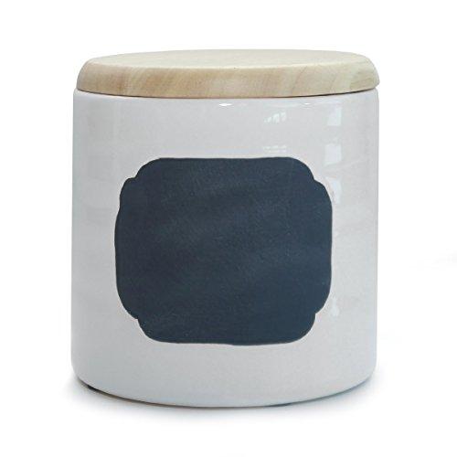 Keksdose Vorratsdose mit Deckel Keramik weiß mit Tafel - Fläche 12 cm