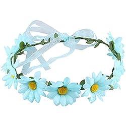 Crystal Crown - Damas - Flor para mujer - Flor - Corona - Diadema - Arco - Bohemia - Margarita - Tocado - Tocados - Novia o brida de pelo de Bridemaid - Fiesta para la fiesta de bodas - Vaca