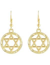 Pendientes colgantes de oro vintage con diseño de estrella de David, para mujeres y joyas