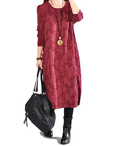 Kasen donna vestito rotondo collare manica lunga vestito sciolto vino rosso 2xl