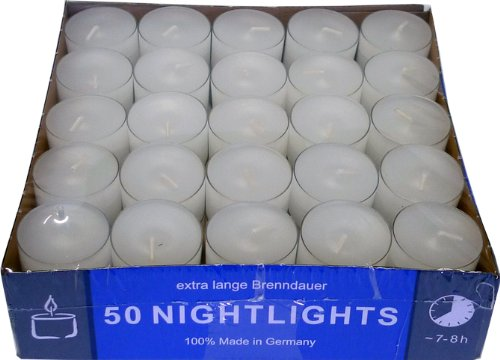Nightlights - 50 Teelichter mit langer Brenndauer bis zu 8 Stunden in transp. Hülle