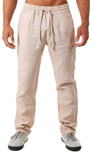 Young & Rich Herren Leinenhose Sommerhose 100% Leinen mit Kordelzug Straight Regular Fit S4103, Grösse:M, Farbe:Beige