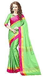 Glory Sarees Women's Poly Cotton Ethnic Wear Saree (jari107_green and pink)