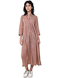 VRITTA Women's Cotton Dobby Shirt Dress (Pale Blush, PAKU07)