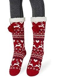 Femme Fille Christmas Chaussettes a la Maision Slipper Antidérapantes  d hiver Chaud Douce 9f7c150b425
