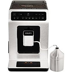 Krups EA891D10 Machine à Café Automatique avec Broyeur à Grains Evidence avec Pot à Lait Ecran OLED Cafetière Café Espresso Expresso Cappuccino 15 Bars Silver