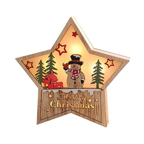 Décorations de Noël en bois avec LED, BZLine Noël Décoration de vacances mignonne bonhomme de neige Pentagram En forme d'étoile