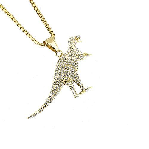 MCSAYS Hip-Hop Herren-Schmuck Edelstahl Gold CZ Tyrannosaurus Anhänger Halskette