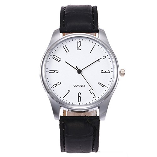 Ditracter Armbanduhren,Herren Einfache Business-Mode Leder Quarz Uhren Wrist Watch Casual Armbanduhr Uhrenarmband Herrenuhr (Schwarz a)
