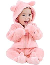 Baywell Baby Teddy Overall Jacke, Langarm Reißverschluss Cartoon Tiermuster Niedlich Hoodie Neugeborenen Strampler Onesie Jumpsuit Kleinkind Baby Spielanzug Winter Overall Schneeanzüge