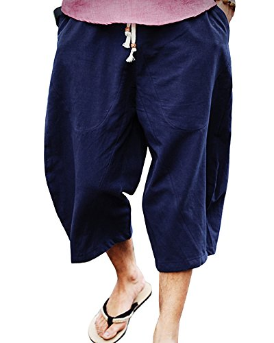Pantaloncini uomo estivi pantaloni di lino harem casual elasticizzati pinocchietti pantaloni alla caviglia marina militare m