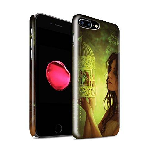 Officiel Elena Dudina Coque / Clipser Brillant Etui pour Apple iPhone 8 Plus / Oiseaux Libres/Vitrail Design / Les Oiseaux Collection Volons-Nous/Cage
