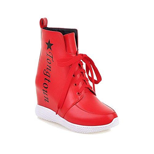 AgooLar Damen Schnüren Rund Zehe Hoher Absatz Gemischte Farbe Niedrig-Spitze Stiefel Rot
