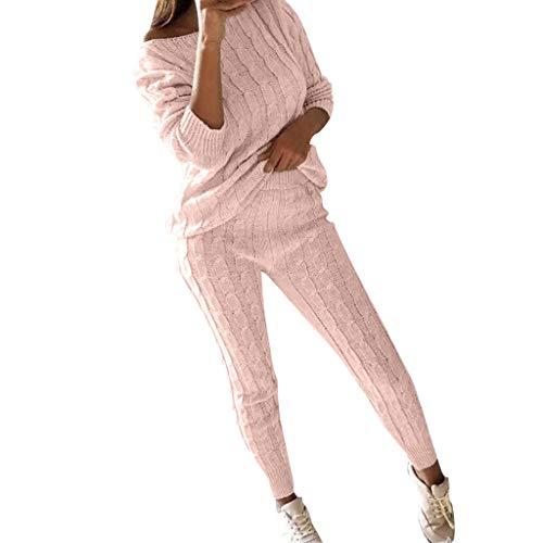 Setsail Damen 2 Stück Set Outfits Freizeitanzug Gestrickt Sportanzug Jogginganzug Schulterfrei Langarmshirt Warm Paket Hüfte Hosen Trainingsanzug Set Loungewear Suit Set