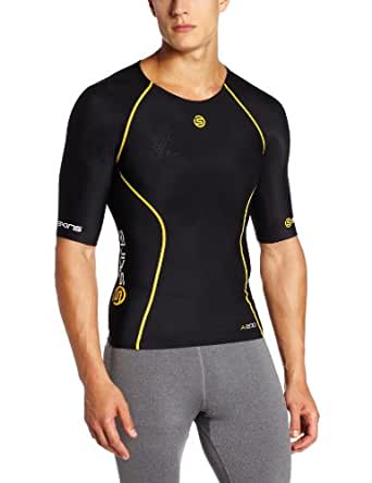 Skins Herren Kompressiontop A200 Short Sleeve, black/yellow, XS, B60052004XS