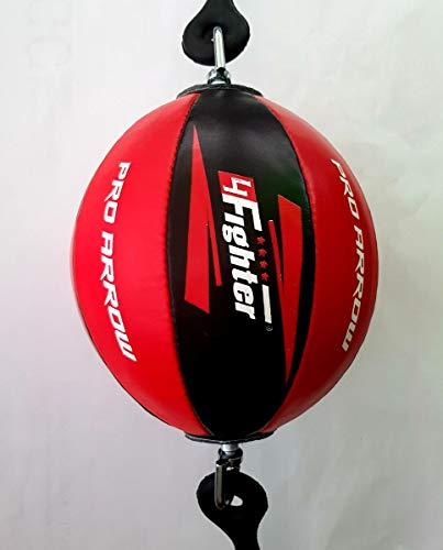 4Fighter PRO Leder Punchingball Doppelendball schwarz-rot mit Gummihalterung