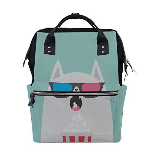 Coole Katze Tragen Brille Große Kapazität Windel Taschen Mummy Rucksack Multi Funktionen Wickeltasche Tasche Handtasche Für Kinder Babypflege Reise Täglichen Frauen