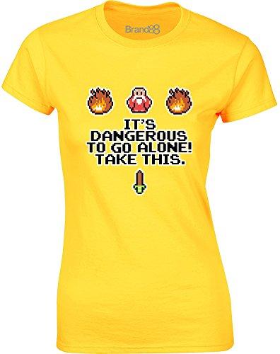Brand88 - It's Dangerous To Go Alone, Gedruckt Frauen T-Shirt Gänseblümchen-Gelb