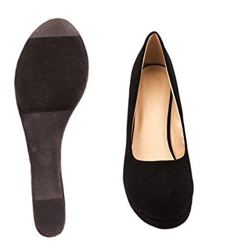Elara Damen Pumps Keilabsatz Wedges Schuhe mit Plateau Schwarz