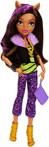 Mattel Monster High DVH23 - Todschicke Monsterschülerin Clawdeen Puppe, (Lila Monster High Haare)