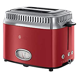 Russell Hobbs Toaster Retro Rot 21680-56 (1300W, Countdown-Anzeige im Retrodesign, Brötchenaufsatz, 6 einstellbare Bräunungsstufen + Auftau-& Aufwärmfunktion, Schnell-Toast-Technologie)