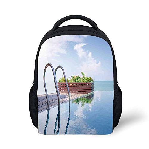 d08df24b7e32 Kids School Backpack House Decor,Swimming Pool Caribbean Poolside Plants  Summertime Traveling Relaxing Luxurious, Plain Bookbag Travel Daypack