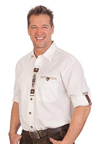 H1636 - Trachtenhemd mit Krempelarm - Weiß, Größe 53/54 (6XL)