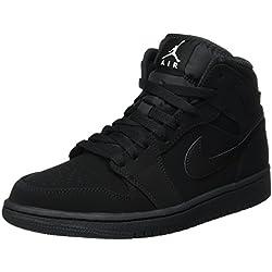 Nike Air Jordan 1 Mid, Zapatos de Baloncesto Para Hombre, Negro (Black/White-Black), 42 EU