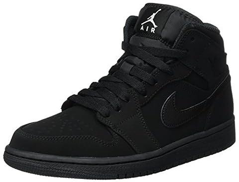 Nike Air Jordan 1 Mid, Chaussures de Basketball Homme, Noir (Black/White/Black), 45 EU