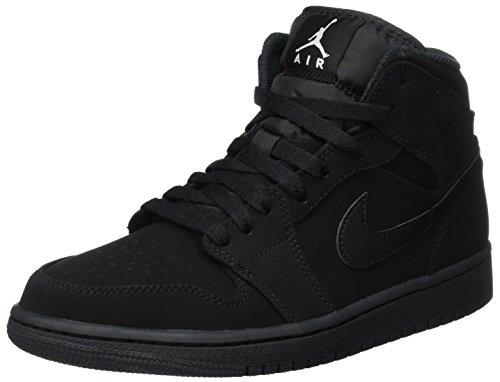 Nike Herren Air Jordan 1 Mid Basketballschuhe, Schwarz (Black/White-Black), 44.5 EU
