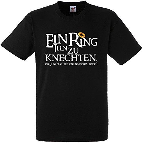 Shirtoo Herren T-Shirt ein Ring Ihn zu knechten für Den Junggesellenabschied (Männer/Bräutigam) in Schwarz, Größe XL