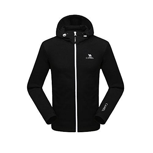 CAMEL Lange Ärmel Herren Fleece Full Zip Jacke Herren Outdoor Sportbekleidung Fleece Hoodies Oberbekleidung für Winter Oder Frühling, Schwarz, X-Large Fleece Full Zip Hood