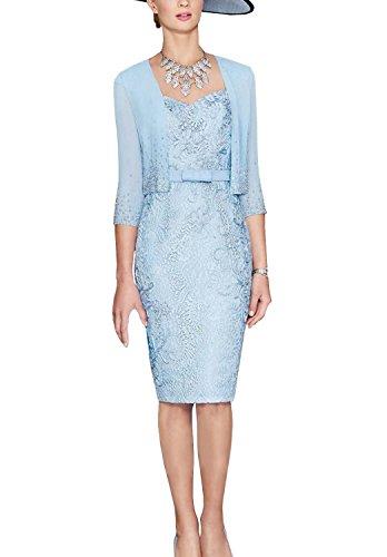 ShineGown Blau Square Neck Lace Applique Kleid mit kurzen Chiffon Jacke für Hochzeit Mutter der Braut Bräutigam (Blau, 46) (Mutter Des Bräutigams Kleider)