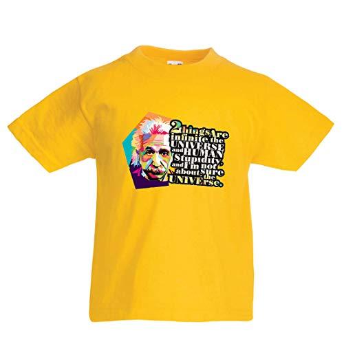 lepni.me Kinder Jungen/Mädchen T-Shirt Wissenschaftler Physik Albert Einstein Menschliche Dummheit Sarkastisches Zitat (9-11 Years Gelb Mehrfarben)