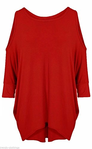 FK Styles oversize Baggy Loose Fit Cold spalla Batwing top Red