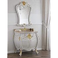 simone guarracino kommode und spiegel anderson venezianisch barock stil badmobel gewolbt crackle und blattgold marmor creme