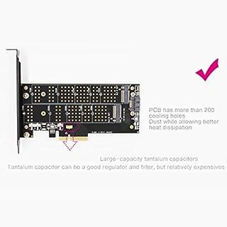 perfk M.2 NGFF zu PCIe 3.0 x4 Controllerkarte mit Heatsink, Unterstützt ACHI- und NVMe-SSD, Kompatibel mit M.2 22110, 2280, 2260, 2242, 2230